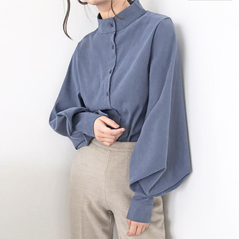 Fashion women blouse shirt lantern long sleeve women shirts solid stand collar office blouse womens tops and blouses