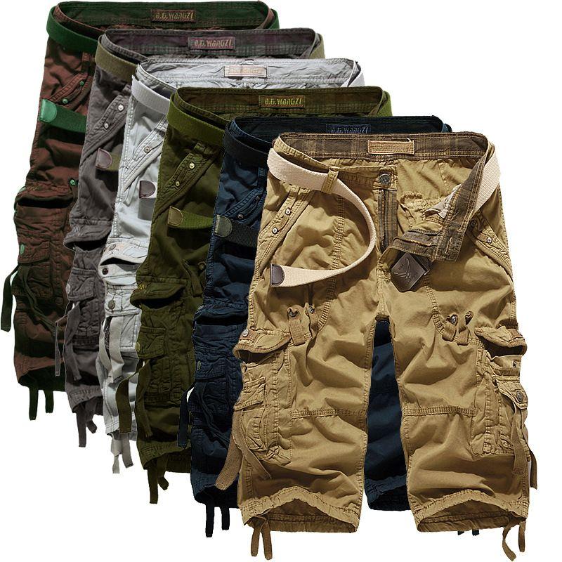 Mens Nouvelle arrivée de l'Armée de camouflage Cargo Shorts Pantalons motif solides en vrac Pantalons Pantalons Bermudas Homme court