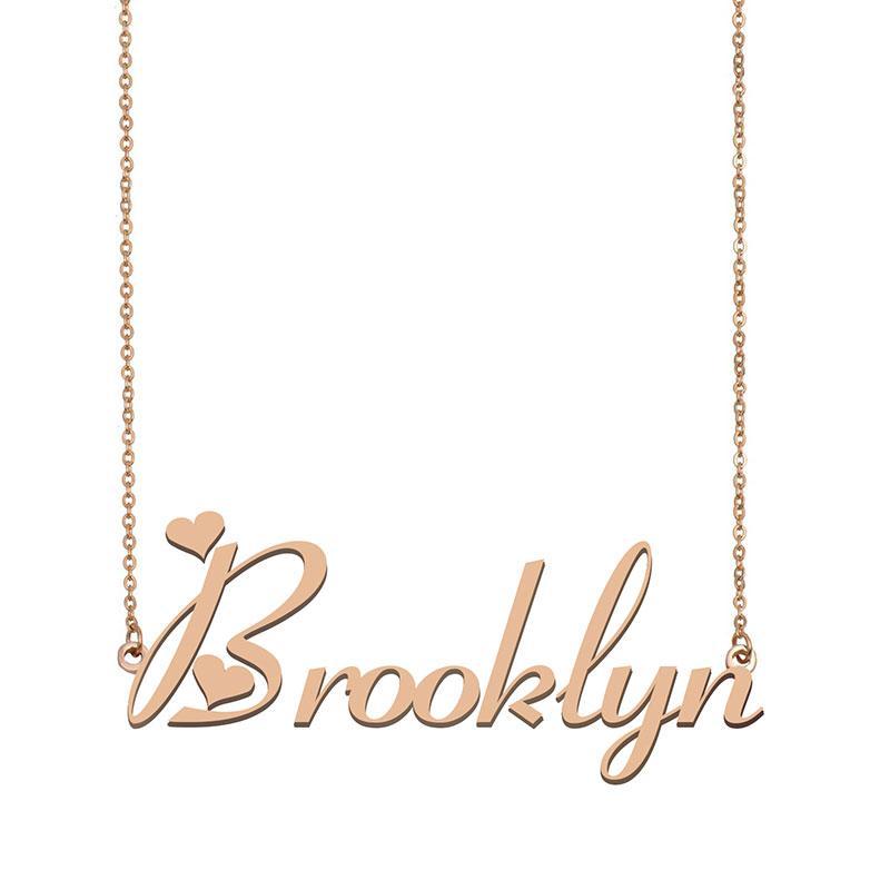 Brooklyn Namenshalsketten-Anhänger für Frauen-Mädchen-Geburtstags-Geschenk Individuellen Typschild Kinder Best Friends Schmucksachen 18k Gold überzogener Edelstahl
