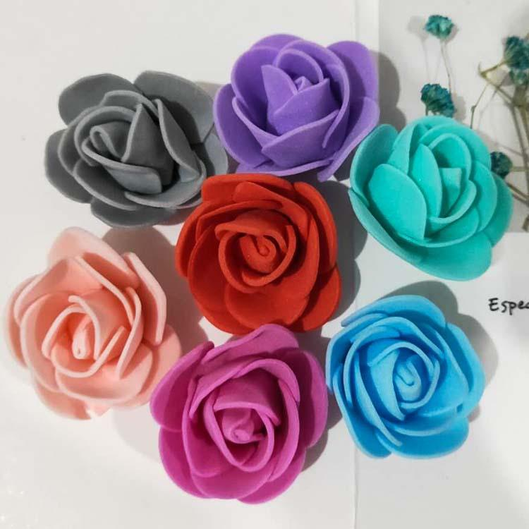 500PCS /lot Artificial Foam PE small rose flower heads fake flowers DIY Rose Bear Accessories for valentines girls gift Children's day decor