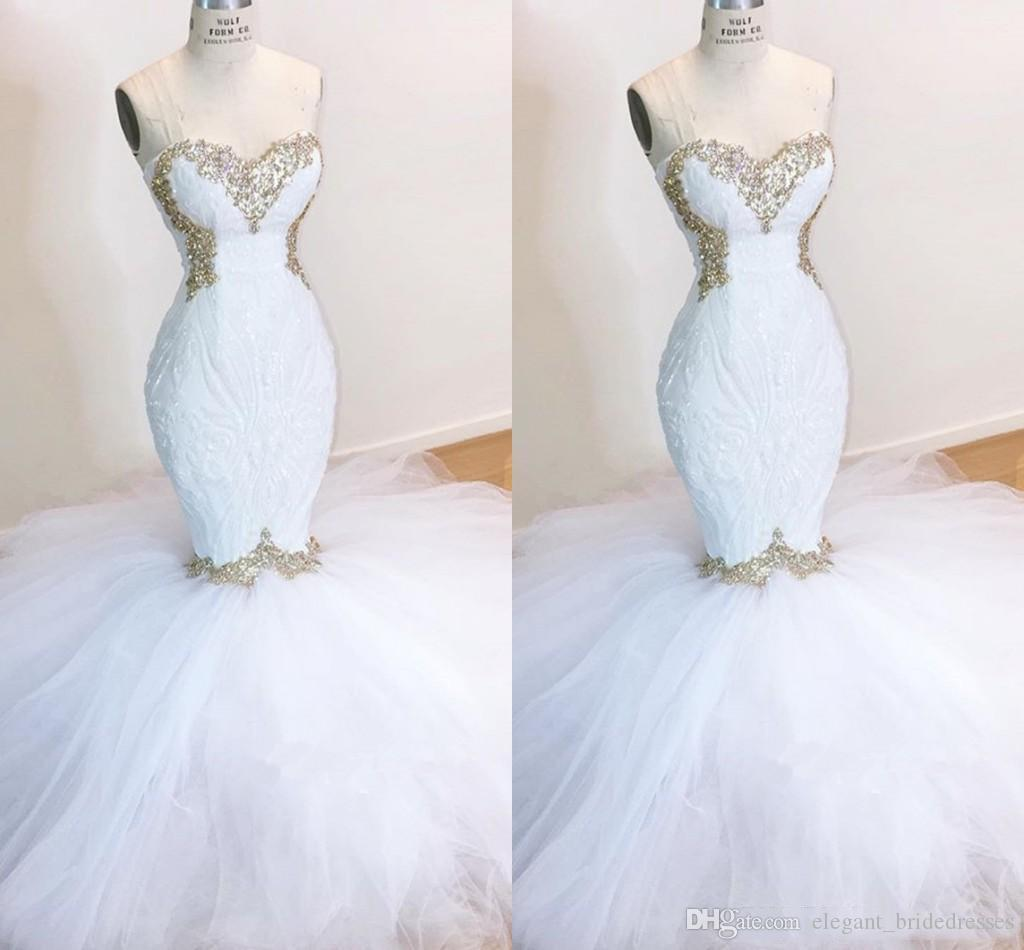 2019 bon marché Robes de mariée chérie dentelle Styliste sirène Appliques femmes Robes de mariée balayage train Tulle Robes de mariée