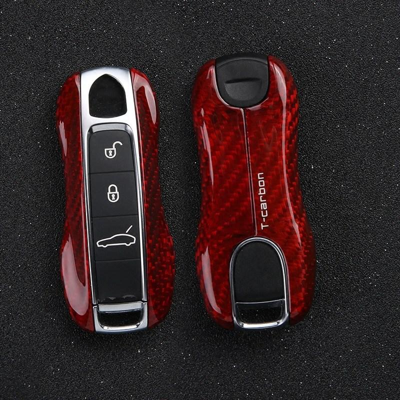 Rear Carbon Fiber Car Key Cover Black Red Protection Shell Case for Porsche Panamera 2017 2018 Styling Accessories Great Gift
