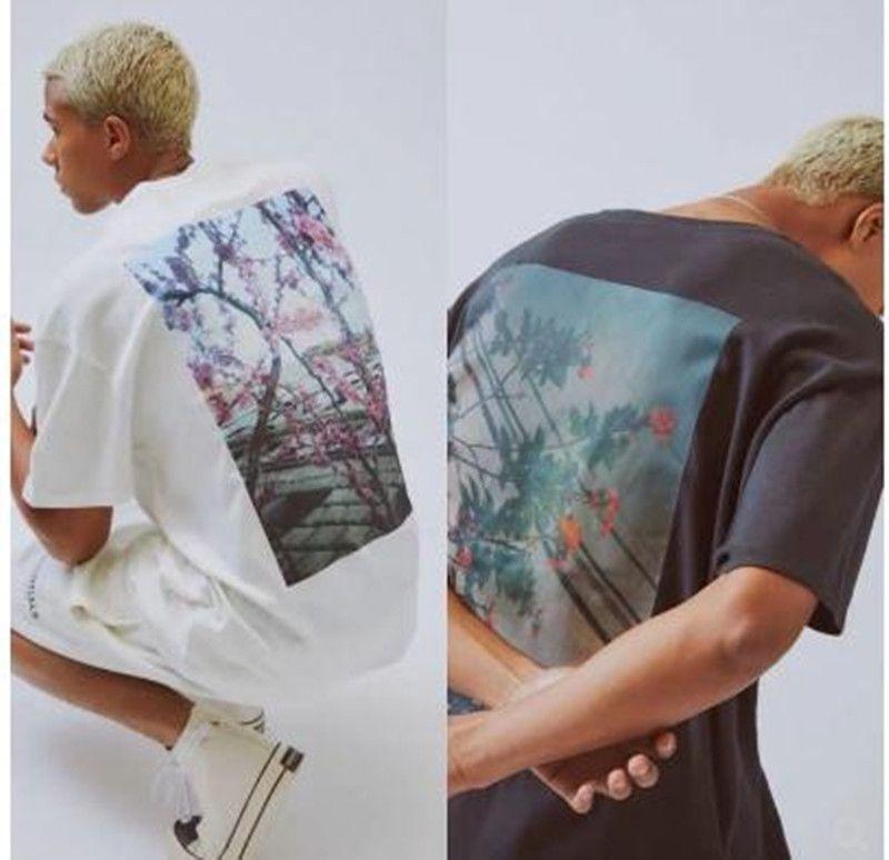 19FW FOG Fear of God ESSENTIALS Blumenfoto gedruckt schwarz weißes T-Shirt Männer T Frauen Mode mit kurzen Ärmeln Straße Hip Hop Sommer-Stück