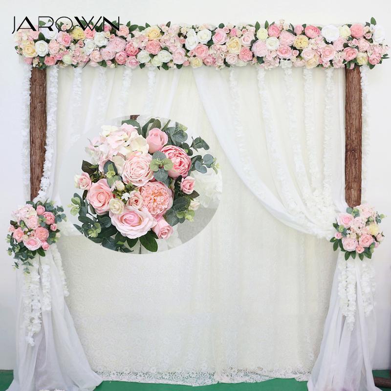 Jarown Artificial Rose Flor Fileira Pequeno Canto Simulação Flores De Seda Falsa Casamento Diy Casa Garland Decor Flores Q190522