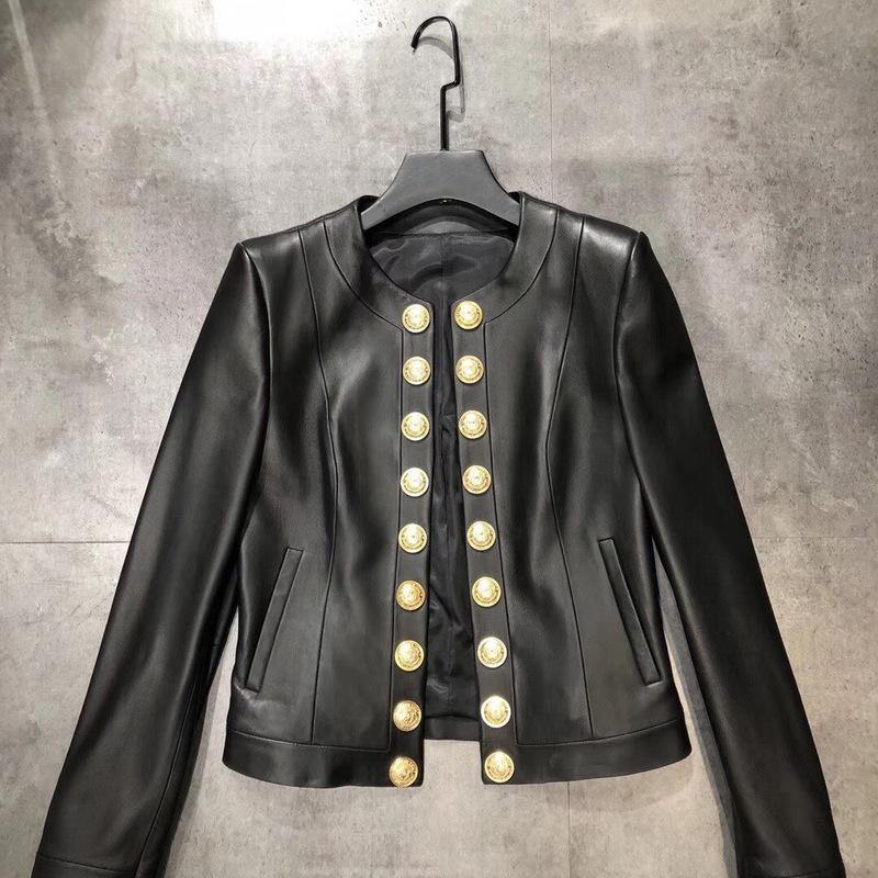 New leather coat Jacket women s short head layer sheepskin round neck gold button double breasted fashion slim size