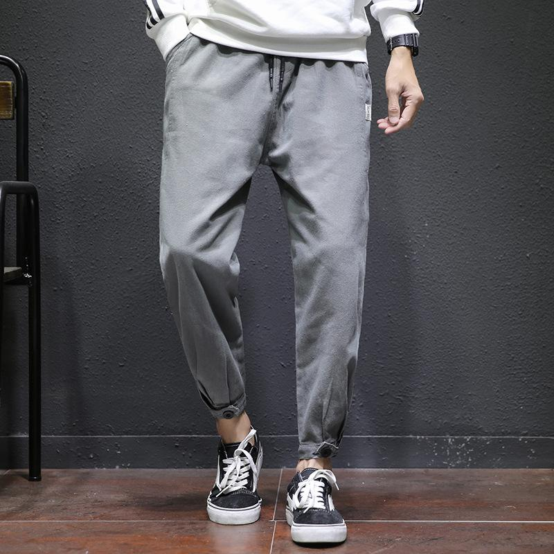 Streetwear Ribbons Man's Pants Loose Drawstring Joggers Fashion Casual Ankle-Length Solid Pant Cotton Fernao Tapered Fit Pants
