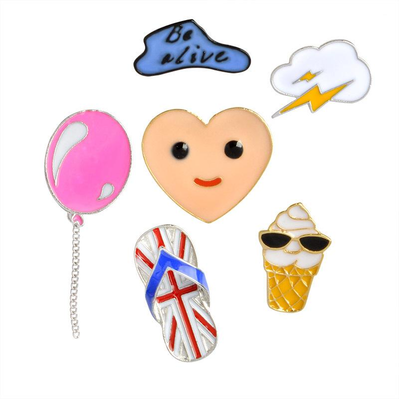 Cute Cartoon Cloud Car Shoes Metal Kawaii Enamel Pin Badge Buttons Brooch Shirt Denim Jacket Bag Decorative Brooches for Women Girls