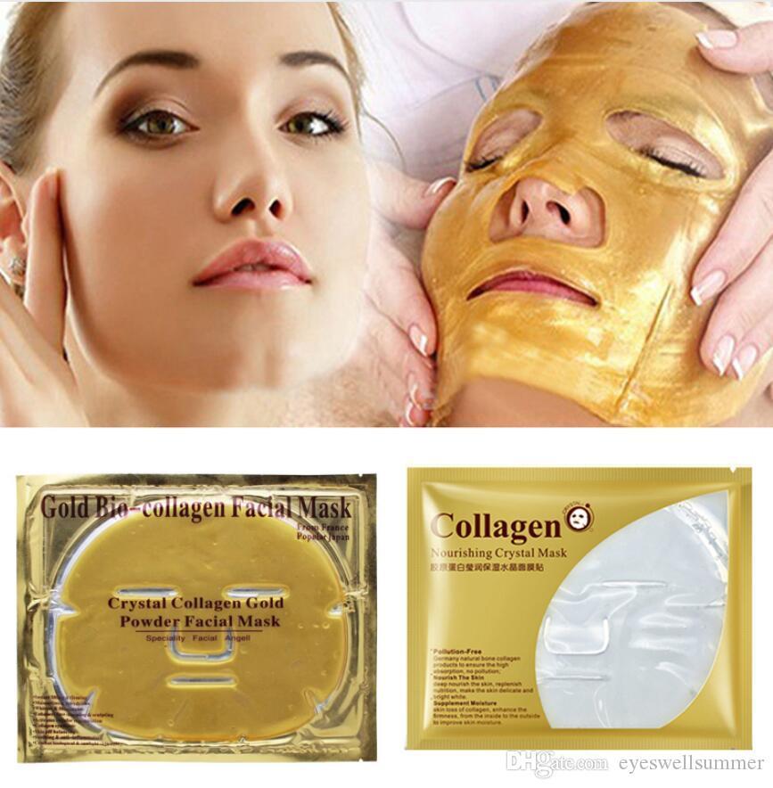 500pc / lot Gold Bio-Collagen Gesichtsmaske Gesichtsmaske Kristallgold-Pulverkollagen-Gesichtsmaske Feuchtigkeitsspendende Anti-Aging