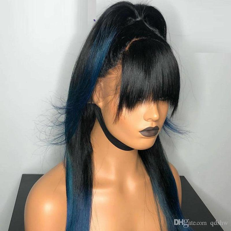 Humano Lace cabelo Frente perucas com franja Pré arrancada Bleached Nós Glueless Hetero Glueless Lacefront completa chinês estrondo Lace Wig Para Mulheres