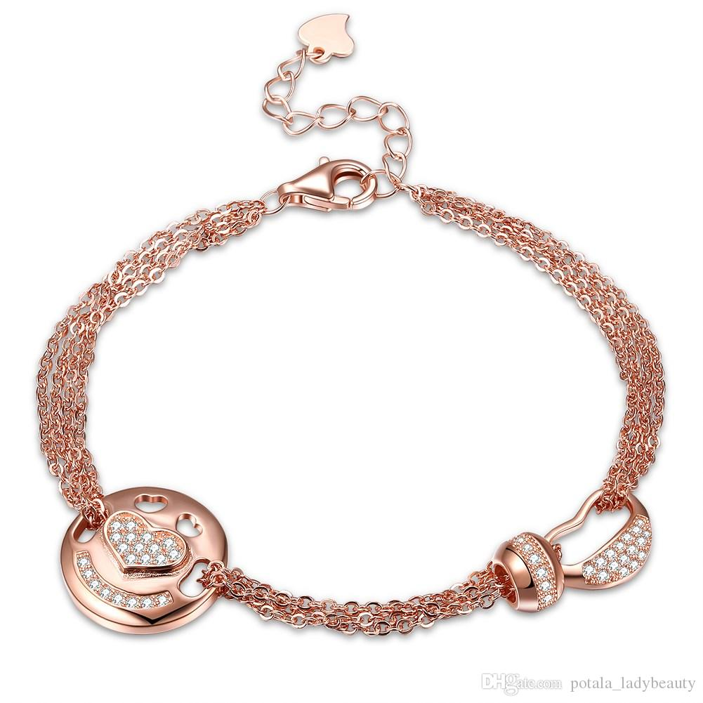 60e70f9975da6 Heart S925 Sterling Silver Twist Chain Charm Bracelets Zircon Smile Bangle  Beading HOOP Little Princess Simple Jewelry Wedding POTALA195 Charms For ...