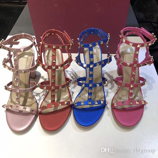El más nuevo diseño de marca Sandalias para mujer Zapatos de verano de tacón alto de cuero para mujer Sexy tacones altos 9.5 cm Remaches de moda zapatos