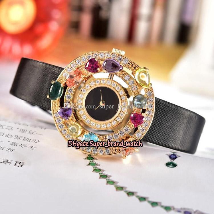 Дешевые высокое качество ювелирных изделий высокого Astrale 101339 AE36D2CBL черный циферблат швейцарский кварцевый женский часы золото Diamond ободок кожаный ремешок Часы Lady