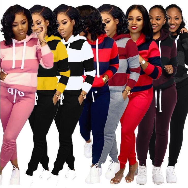 conjunto de las mujeres del invierno libre del envío del chándal manga llena Hoodied la camiseta de los bolsillos de los pantalones Traje de dos piezas de trajes de chándal