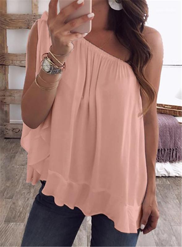 Color caramelo suelta mujeres verano camisetas Color sólido fuera del hombro señoras Tops Casual Tops más tamaño ropa de mujer