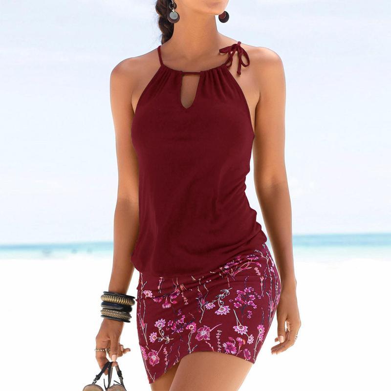 Fashion-MOSHU Seksi Mini Elbise Kadınlar Halter Çiçek Baskı Patchwork Kolsuz Hollow Out Retro Yaz Plaj Elbiseleri Bayan Kadın 2019