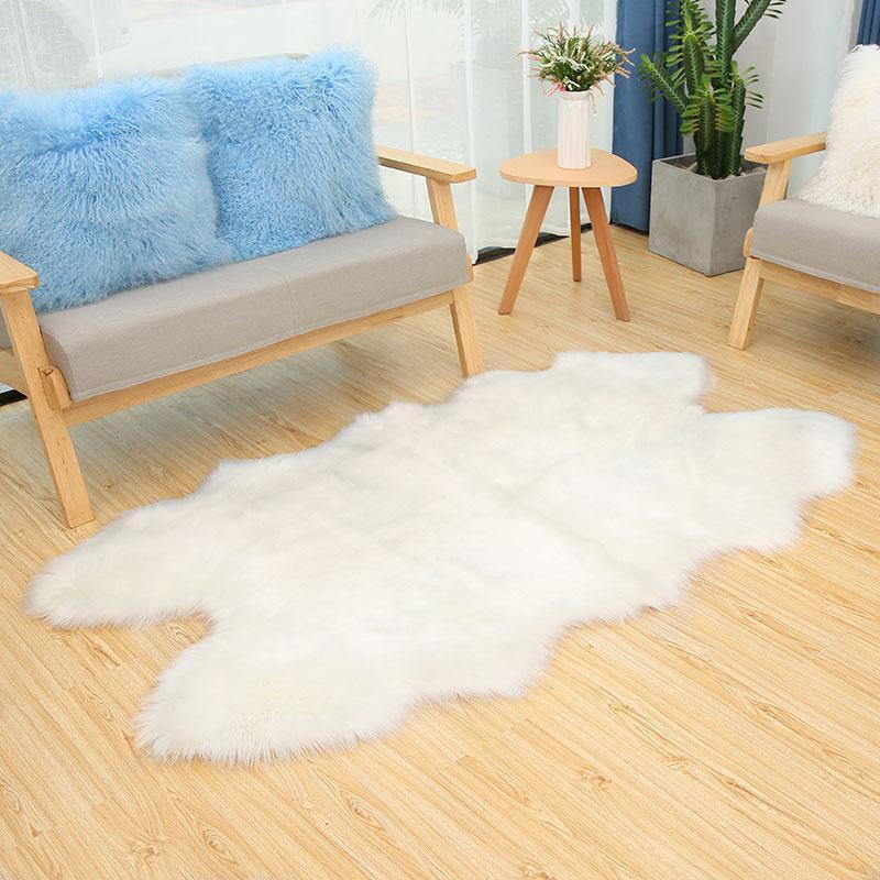 ROWNFUR 깔개 베드룸 거실 부엌 욕실 푹신한 시트 커버 바닥 매트 세척 어린이 보육 화이트 가짜 모피 카펫