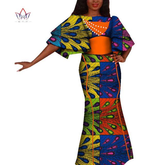 Robe africaine pour femme d'été Vintage Maxi robe de soirée longue Dashiki sexy club africaine riche bazin Femme Plus Taille WY4229