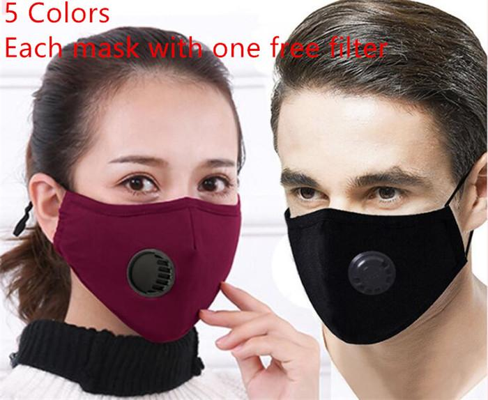 Máscaras reutilizáveis 5 cores PM 2,5 Máscaras Anti-Máscara de poeira lavável Anti-Haze Rosto de algodão com 1 10pcs filtro sem