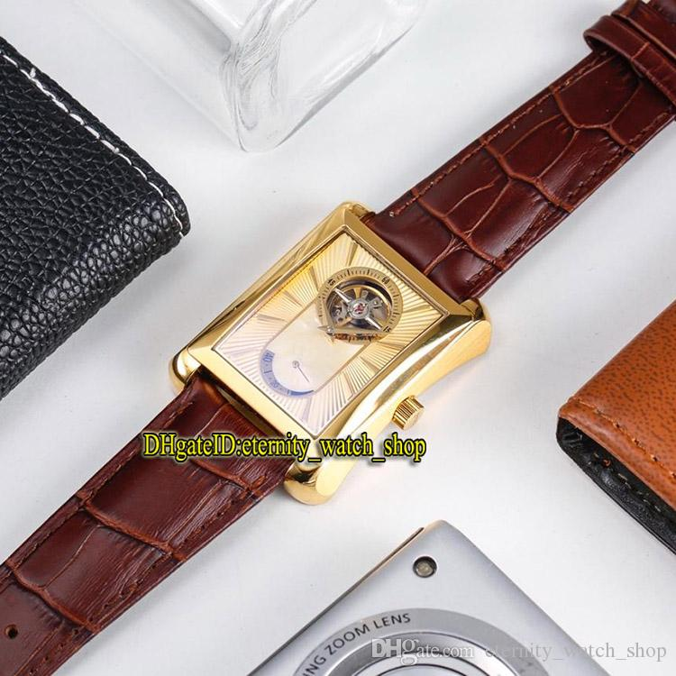 8 Color Luxury New BLACK -TIE G0A34127 Gold Tourbillon Dial Mechanical hand-winding Mens Watch Gold Case Leather Strap Casual Watches 67