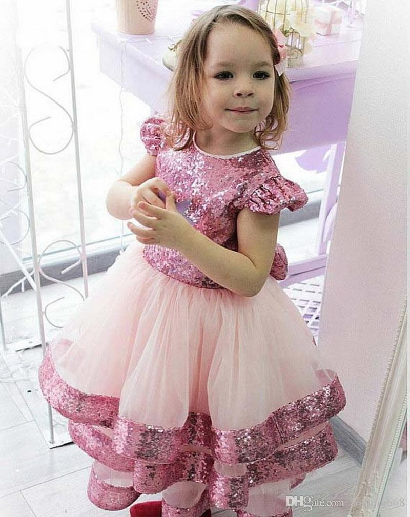 Bonito Todder aniversário vestidos de festa com mangas Big Bow New Vinda Flower Girl Dress For Kids especiais da ocasião formal veste