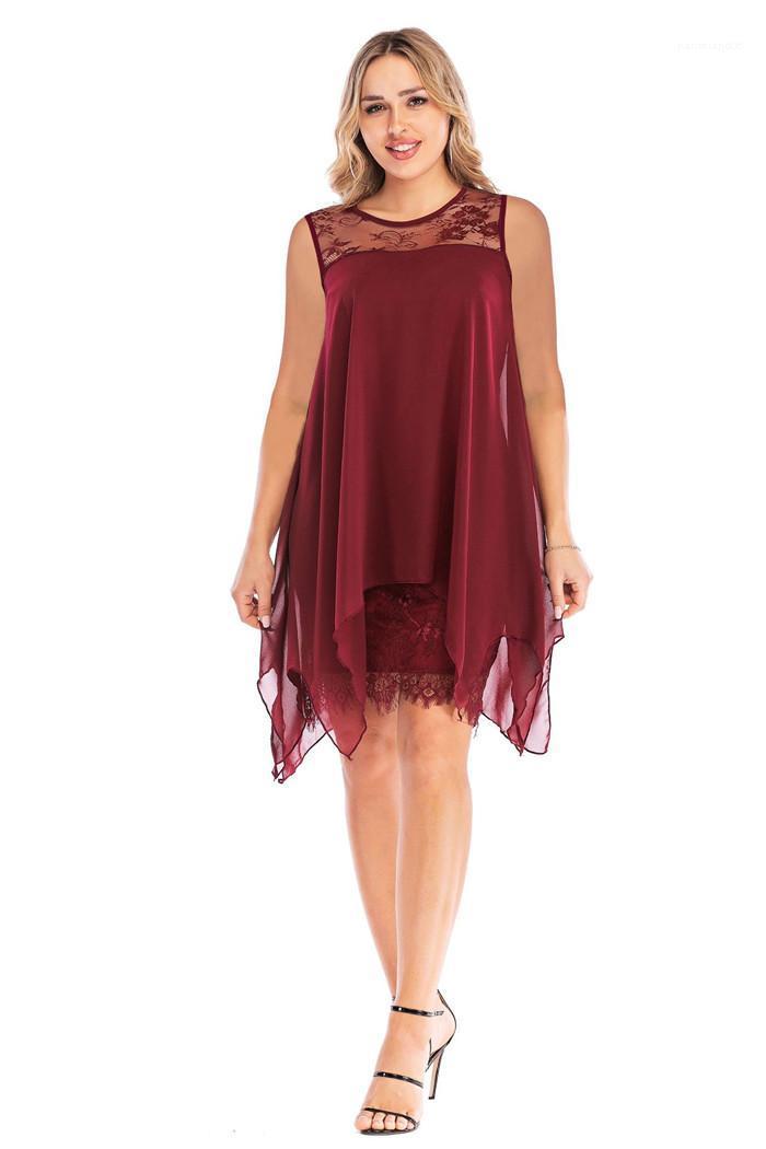 Dikiş düzensiz Hem Dantel elbise 5XL artı boyutu Bayanlar Asimetrik elbise rahat elbiseler üç çeyrek kollu