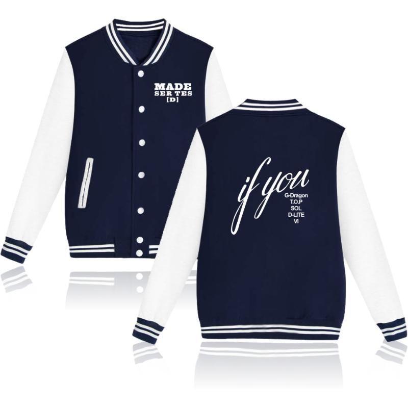 Kpop BigBang Custom impresso Treino Women / Men Jackets Long Sleeve Baseball Jacket Hip Hop Harajuku roupa ocasional Streetwear