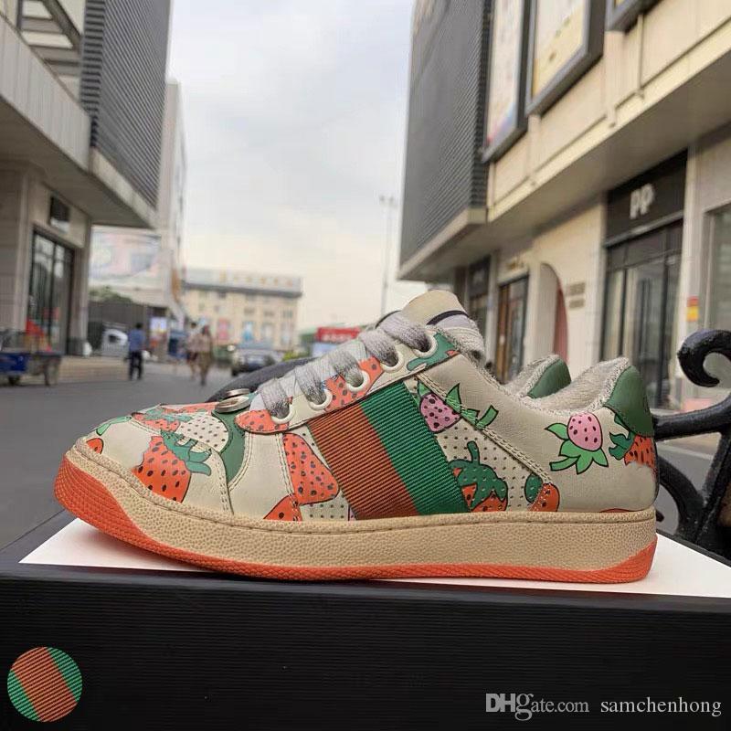 Top Quality Screener sujo de designer sapatos de luxo de couro real Designer Sneaker Man Mulheres ACE bordado calçados casuais morango