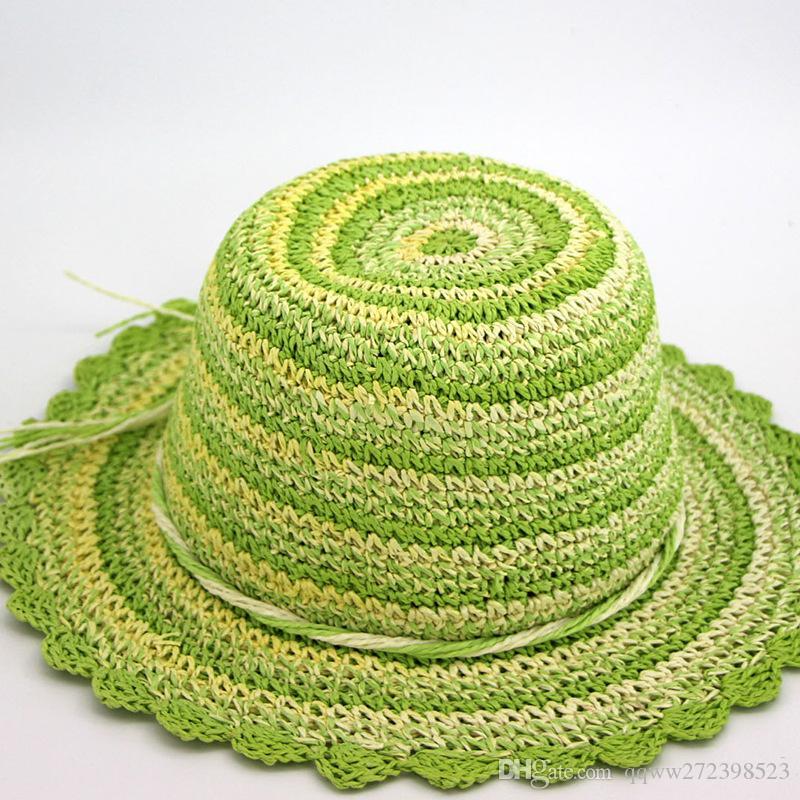 ... Mão chapéu de crochê verde pequeno arco artesanal de primavera e verão  viagens sombrinha chapéu de ... 88529dd3e80