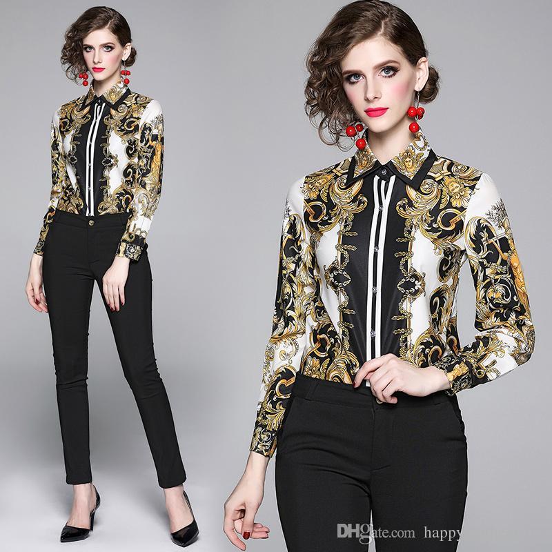 Pista de luxo Barocco impressão da camisa Plus Size lapela pescoço senhoras elegantes Blusas Escritório Mulheres Vintage manga comprida Tops Designer magros elegantes