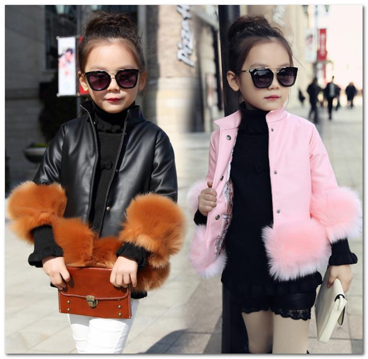 Winter Girls Kids Pu Leather Faux Fur Sleeve Coat Warm Jacket Outwear Children