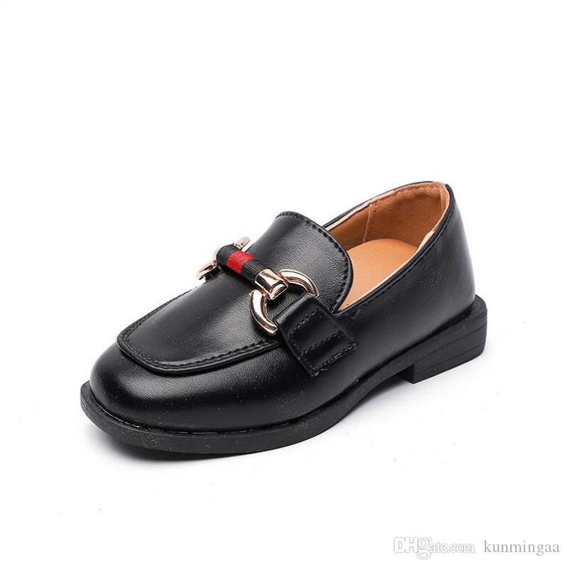 девушки Квартиры Кожгалантерея обувь Весна Мода Больших Дети Черная Повседневная Мокасины Мокасины принцесса обувь Kids Party школа