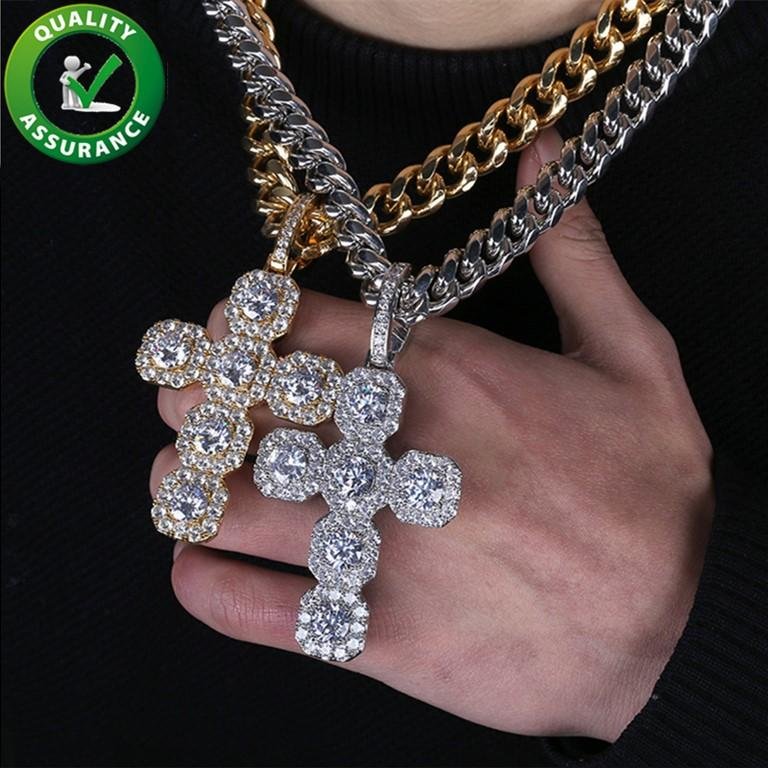 Hip Hop Jewelry Designer Necklace Mens Iced Out Pendant Luxury Bling Cuban Link Chains Diamond Cross Necklaces Gold Silver Rapper Charms Hiphop Accessories