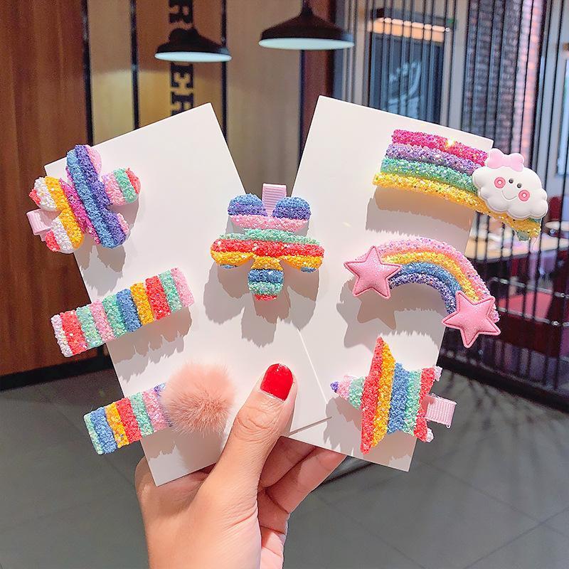 3 / 5pcs / set ragazze carine clip Colorful Rainbow fiore della stella forcine bambini dolce fermaglio dei capelli ornamento dei capelli Accessori