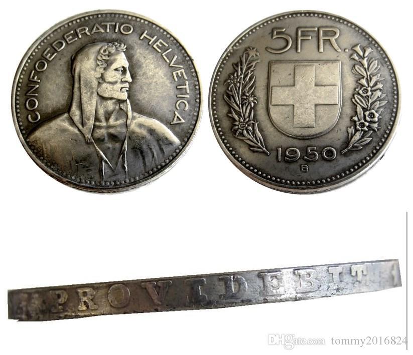 스위스 (연합) 1950 년 5 프랑 (프랑켄 5) 복사 코인 직경 : 31.45mm 도매