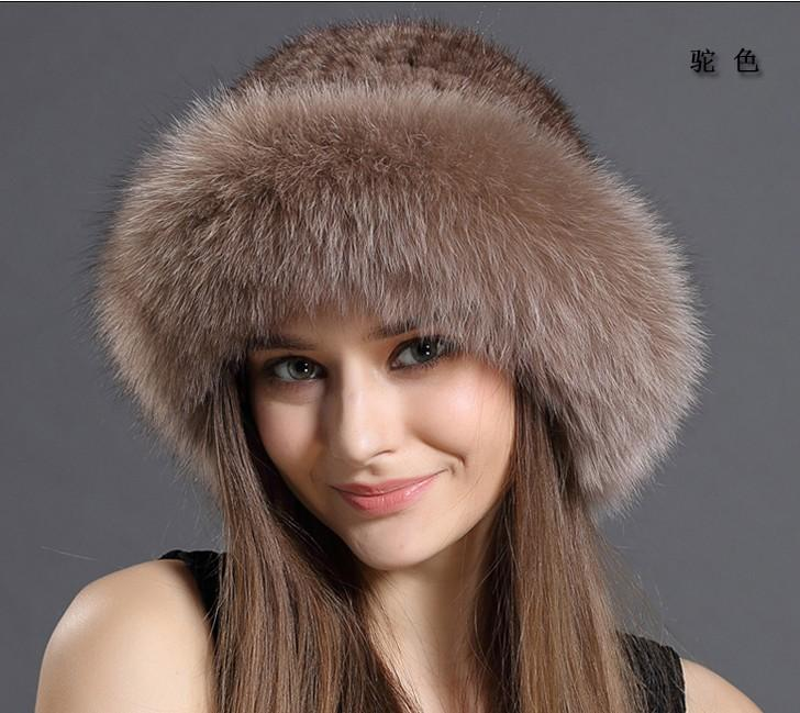 Новая подлинная натуральная вязаная шапка шапка женщины ручной работы вязать мода зима головные уборы бесплатная доставка H1901