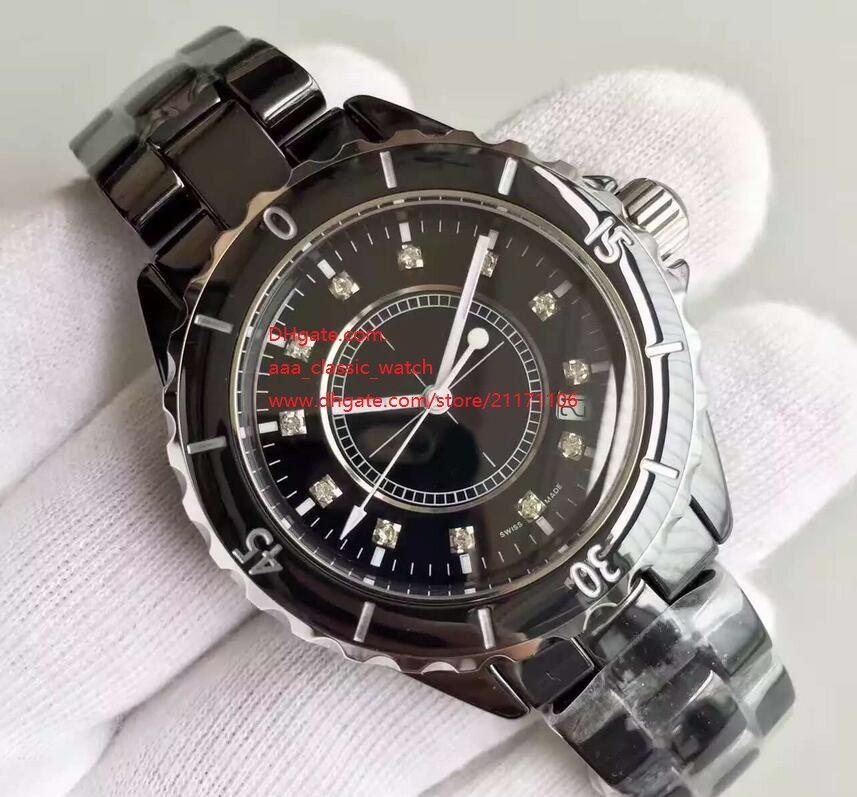 Завод Поставщик Высокое качество Luxury Наручные часы Ceramic 38мм черный циферблат Алмазный автоматические механические Дата Мужчины и женские watchesWatches