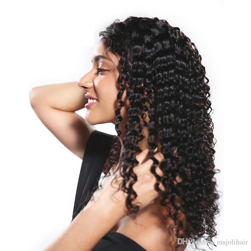 저렴한 8A 브라질 깊은 웨이브 자연 찾고 머리는 흑인 여성 10-30Inch 도매 가격 무료 배송 정면 인간의 머리 가발 레이스