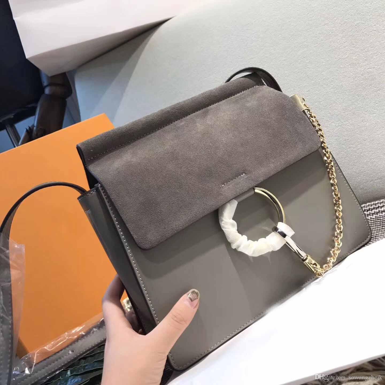 bolsos de hombro libres shiping mujeres de cuero real de los bolsos del bolso crossbody cadena de círculo bolso de alta calidad femenina