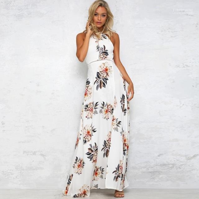 Waist Dress With Split Ladies Open Back Bohemian Dress Summer Halter Flora Printed Dress High