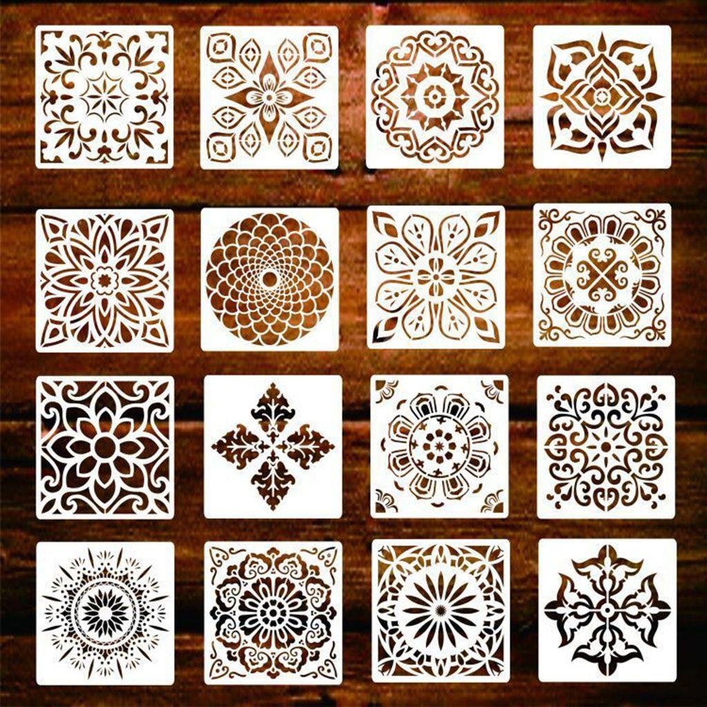 16-حزمة (6X6 بوصة) لوحة رسم الإستنسل ماندالا قالب مجموعة للأحجار الطابق بلاط الحائط نسيج الخشب حرق DIY