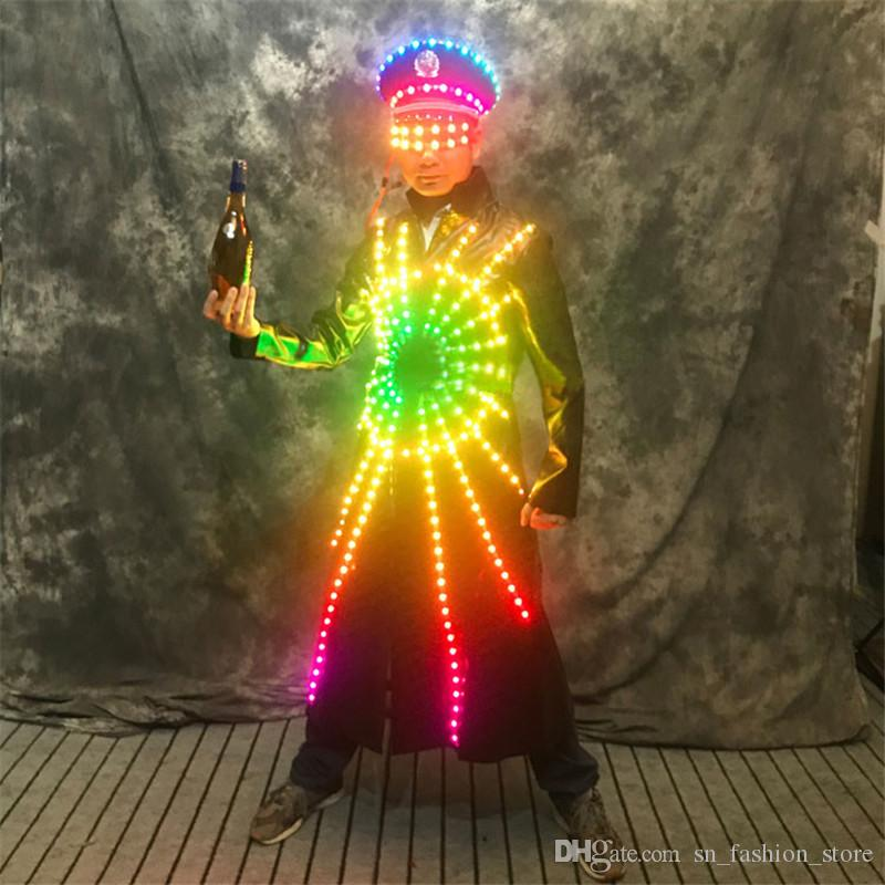 P75 Colorful led light costumes robot men suit luminous lighted jacket bar led dress clothe disco coat glowing outfits glasses party clothes