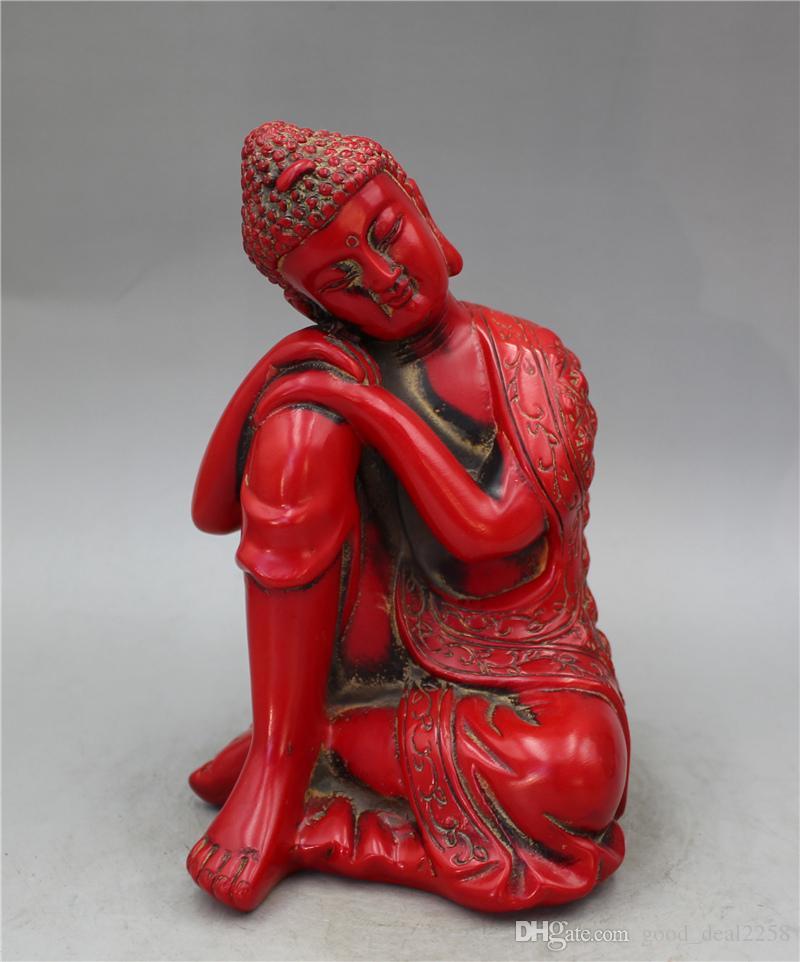 Collection Collection chinoise laqués sculpté statue du Bouddha Sakyamuni
