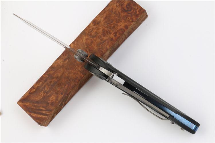 Recemmend cuchillo plegable micrófono Tiburón ballena lámina D2 manija 58-60HRC regalo G10 TC4 de caza plegable del cuchillo de bolsillo de Navidad para los hombres copias PC 1 FreeShippi