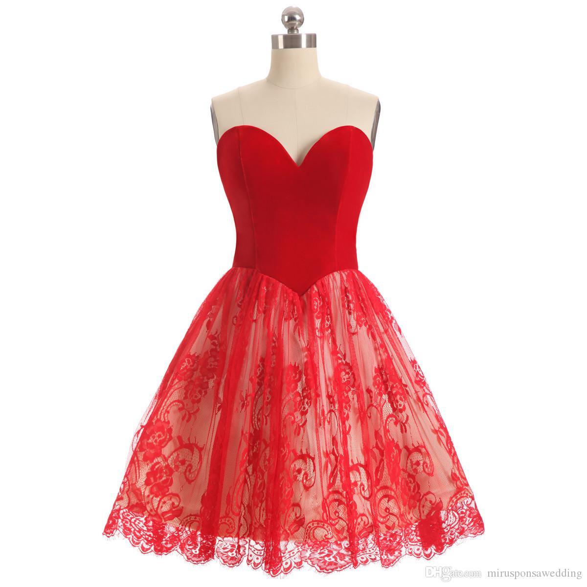 Partido elegante barato vestidos de novia vestidos de baile de encaje rojo corto de la cremallera para arriba detrás Fiesta Vestidos de menos de 100