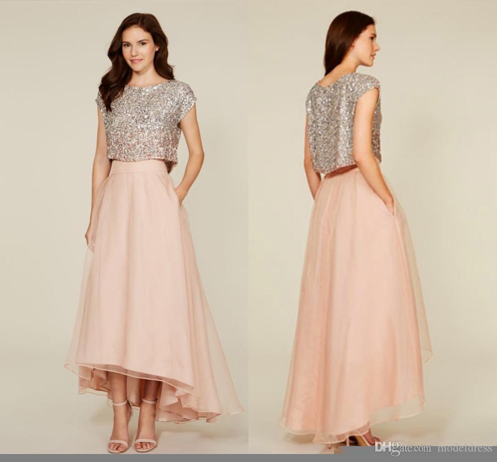 2019 novo sparkly duas peças vestidos de dama de honra praia jóia hi-lo coral maid of honor barato custome feito vestidos de festa de hóspedes de casamento