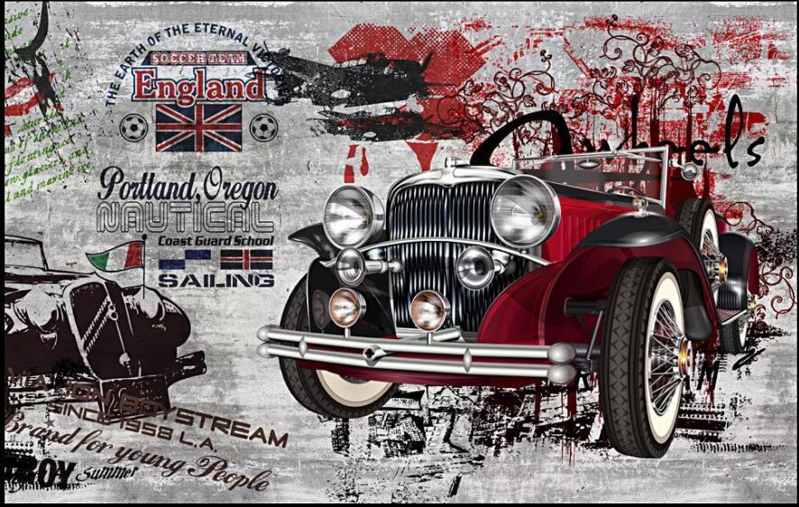 3d fondo de pantalla personalizado mural fotográfico RETRO nostálgica arte de la calle de coches de época que vive el graffiti decoración murales pared del sitio del papel pintado 3D para las paredes 3 d