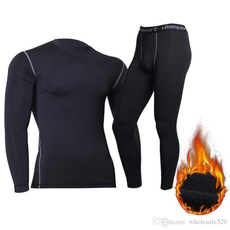 UK Men/'s Tactical Fleece Underwear Sets Breathable Sport Training Tights Clothes