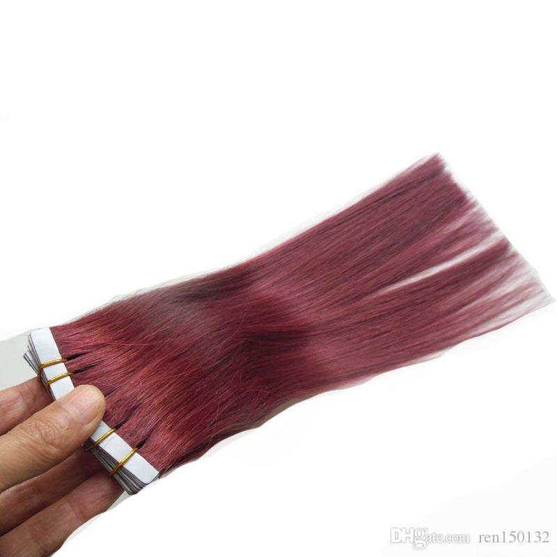 """12 """"- 24"""" fita em extensões do cabelo humano 40pcs fita nas extensões 100% fita real do cabelo humano real de Remy nas extensões principais completas do cabelo"""