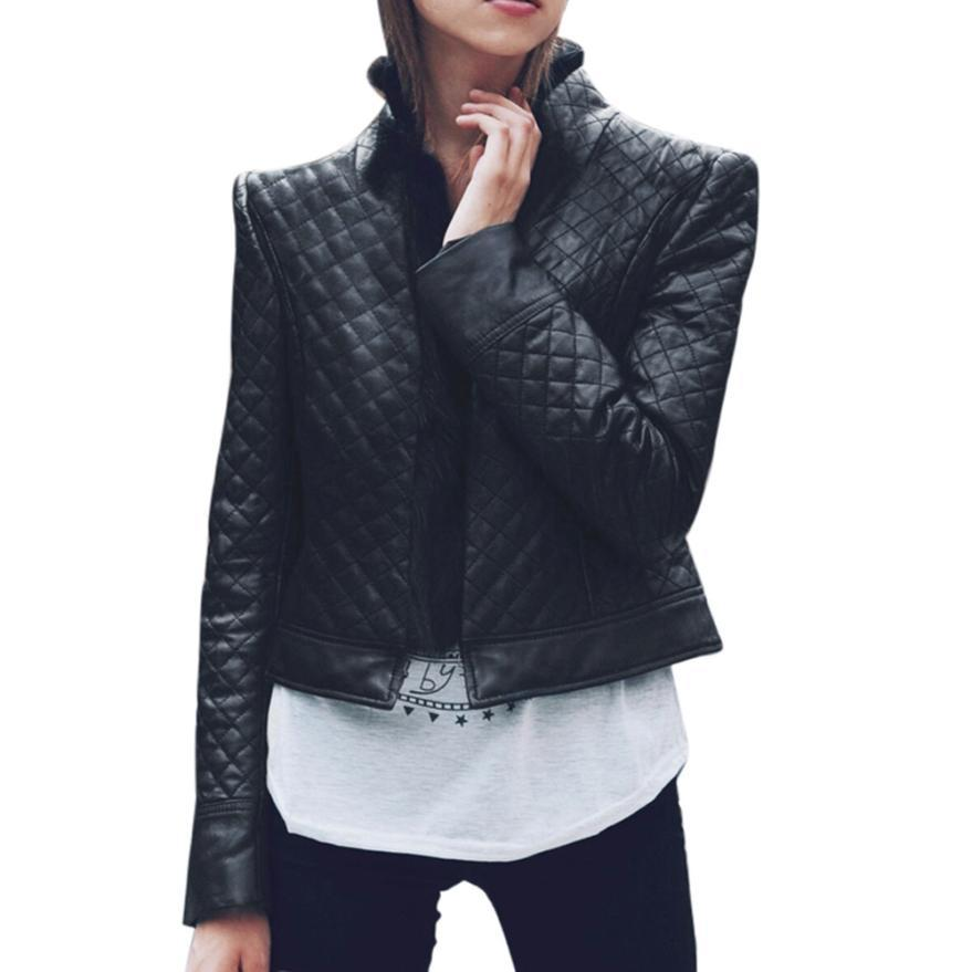 snowshine YLW Women Ladies Faux Leather Outwear Racing Style Biker Jacket Coat