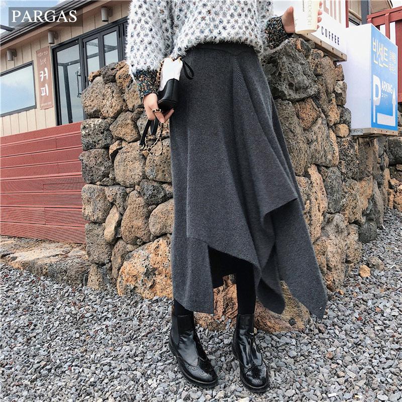 2019 Herbst / Winter-Frauen-Rock gestrickte Mode Unregelmäßigkeit hohe Taillen-Linie Maxi langer Rock Tägliche beiläufig T200113